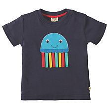 Buy Frugi Organic Baby Little Creature Jellyfish Applique T-Shirt, Navy Online at johnlewis.com