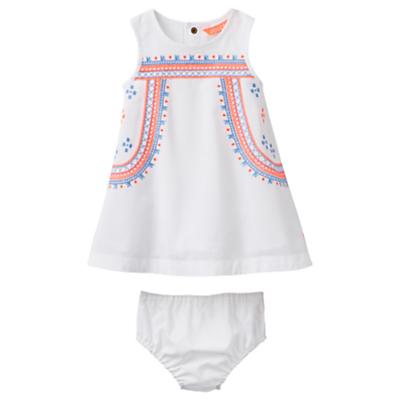 Baby Joule Bunty Embroidered Dress and Knickers Set, White/Multi