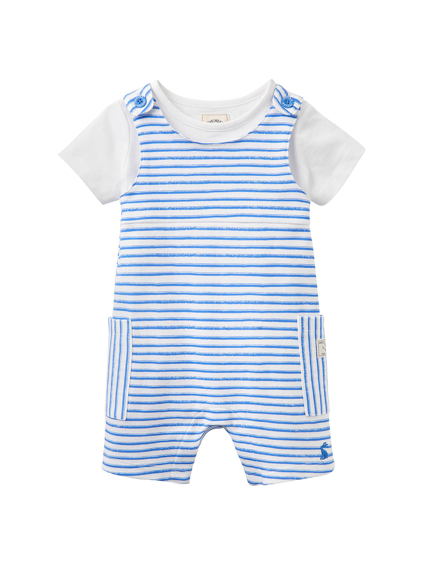 d378abca6 Details about Baby Joule Duncan Striped Jersey Dungaree Set Blue/White  12-18 Mths Brand New