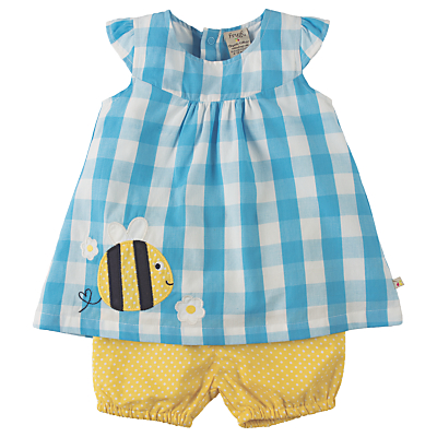 Product photo of Frugi organic baby orla bee gingham outfit blue multi
