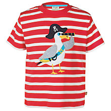 Buy Frugi Organic Children's Ollie Seagull T-Shirt, Red Online at johnlewis.com