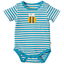 Buy Frugi Organic Baby Springtime Bee Bodysuit, Blue/White Online at johnlewis.com