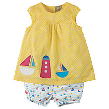 Buy Frugi Organic Baby Orla Ofit Boat Outfit, Yellow Online at johnlewis.com
