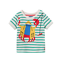 Buy Baby Joule Archie Crab Striped T-Shirt, Green/White Online at johnlewis.com