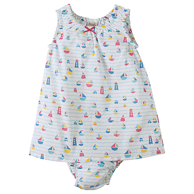 Product photo of Frugi organic baby pretty boat dress and pants set cream
