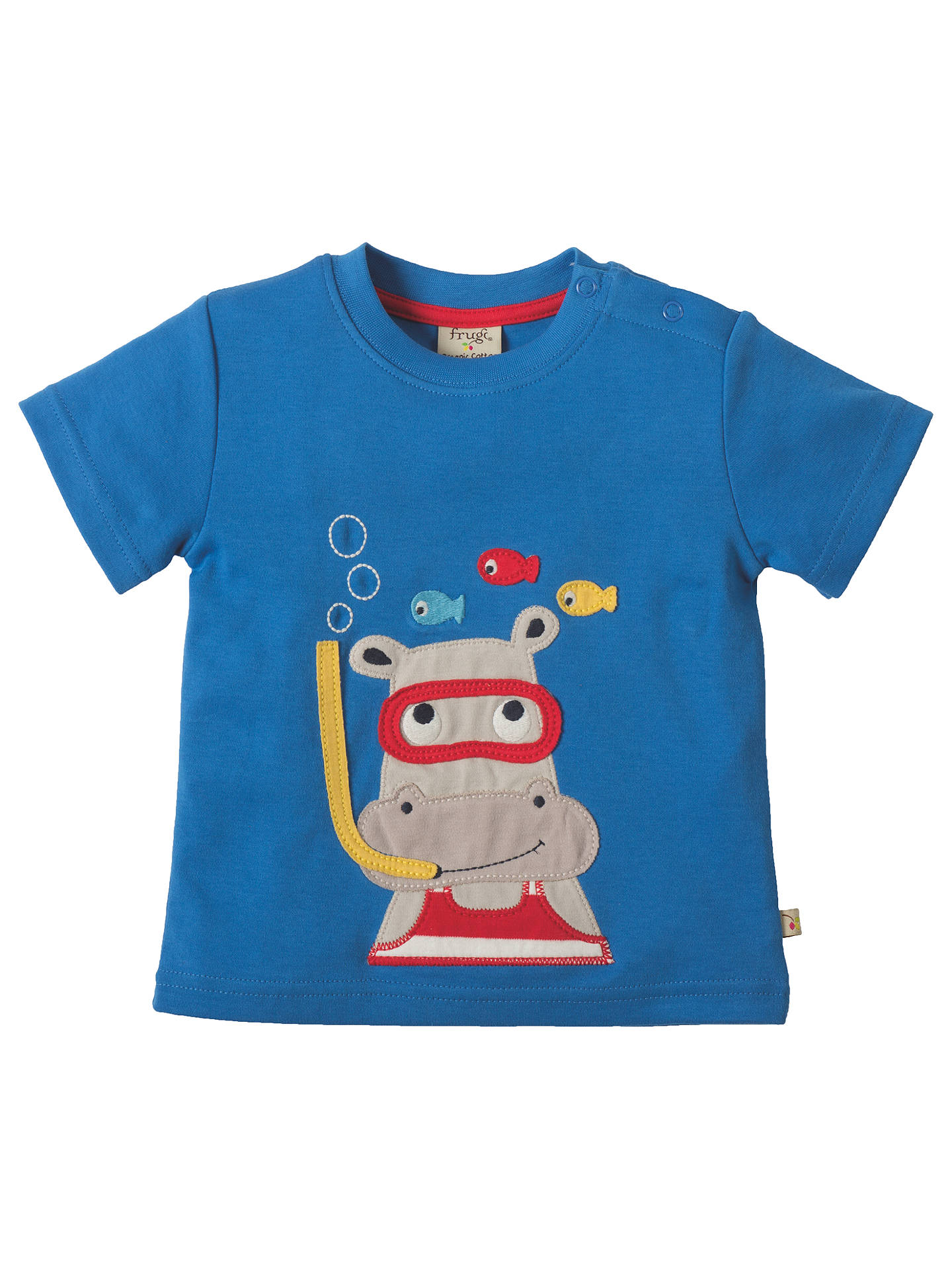 da0e83309641 Frugi Organic Baby Little Creature Hippo Applique T-Shirt