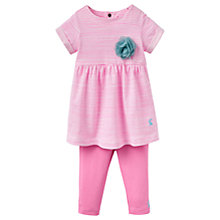 Buy Baby Joule Seren Stripe Corsage Dress and Leggings Set, Neon Pink Online at johnlewis.com