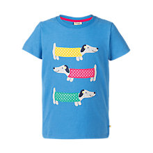Buy Frugi Organic Boys' Gwenver Sausage Dog T-Shirt, Blue Online at johnlewis.com
