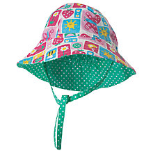 Buy Frugi Organic Baby Strawberry Patchwork Reversible Ditsy Hat, Green/Multi Online at johnlewis.com