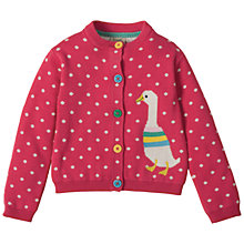 Buy Frugi Organic Baby Little Betsy Duck and Spot Print Cardigan, Raspberry Online at johnlewis.com