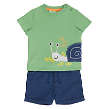 Buy John Lewis Baby Snail Appliqué T-Shirt and Shorts Set, Blue/Green Online at johnlewis.com