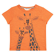 Buy John Lewis Baby GOTS Cotton Cuba Giraffe T-Shirt, Orange Online at johnlewis.com