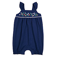 Buy John Lewis Baby Embroidered Jersey Bibshorts, Navy Online at johnlewis.com
