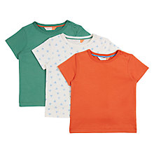Buy John Lewis Baby GOTS Cotton Cuba T-Shirt, Pack of 3, Green/Orange Online at johnlewis.com