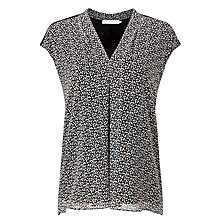 Buy John Lewis Printed Front Pleat Jersey Top, Black/Cream Online at johnlewis.com