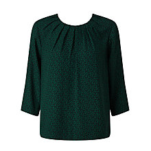 Buy John Lewis Pleat Neck Top, Green Online at johnlewis.com