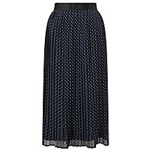 Buy John Lewis Eila Pleated Spot Skirt, Navy Online at johnlewis.com