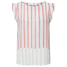 Buy John Lewis Silk Frill Striped Top, Multi Online at johnlewis.com