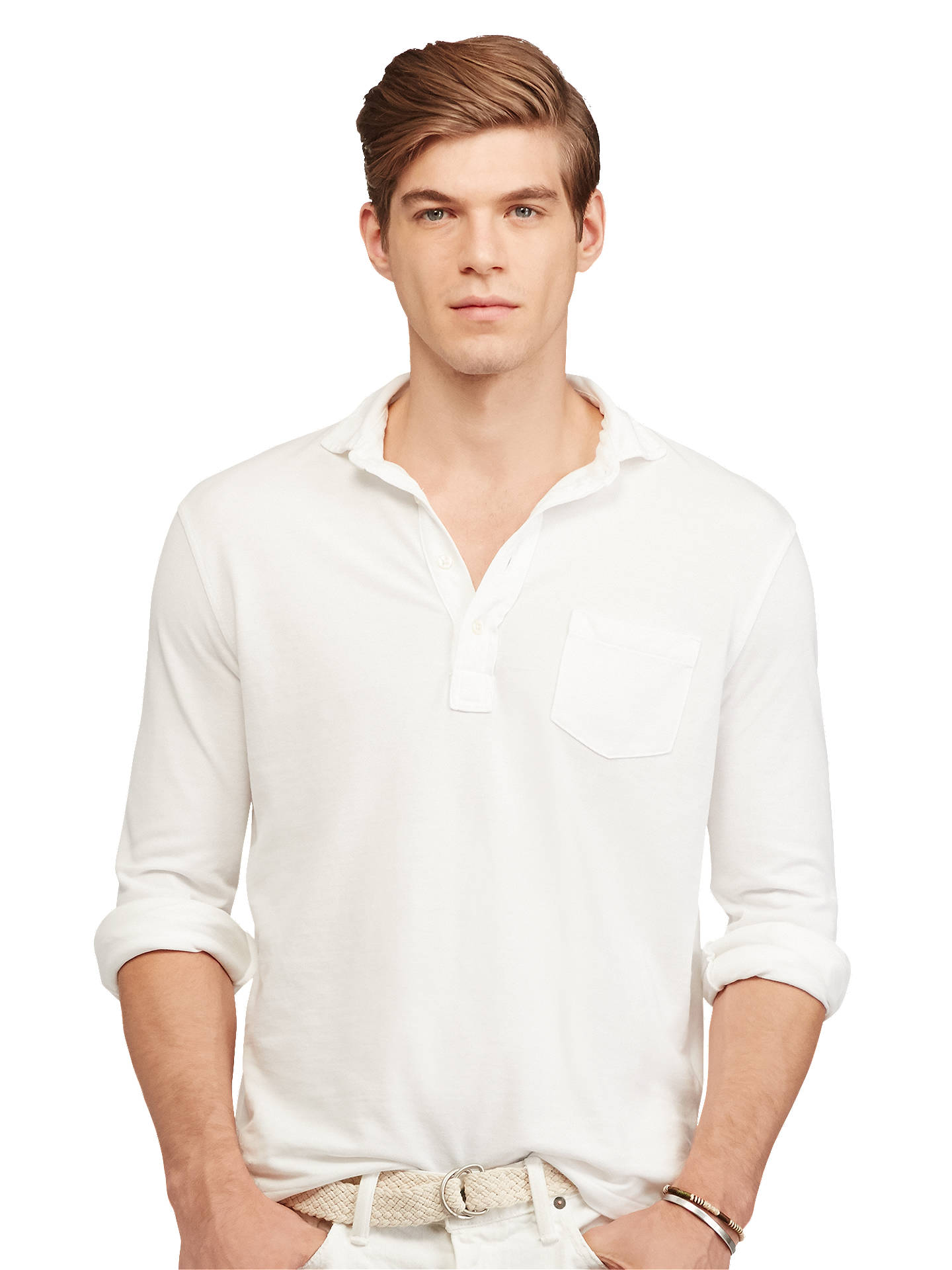 9a6f9cd7 Buy Polo Ralph Lauren Custom Fit Cotton Mesh Polo Shirt, White, S Online at  ...