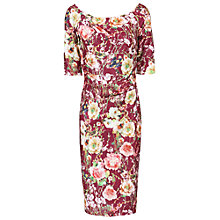 Buy Jolie Moi Floral Half Sleeve Ruched Dress, Burgundy Online at johnlewis.com