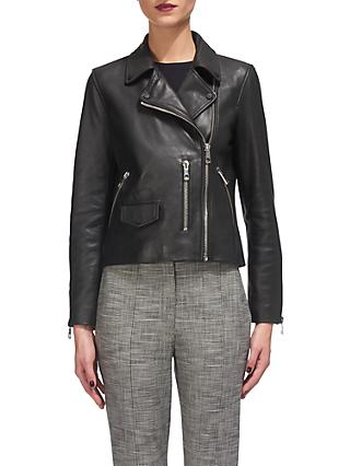 Whistles Agnes Leather Biker, Black