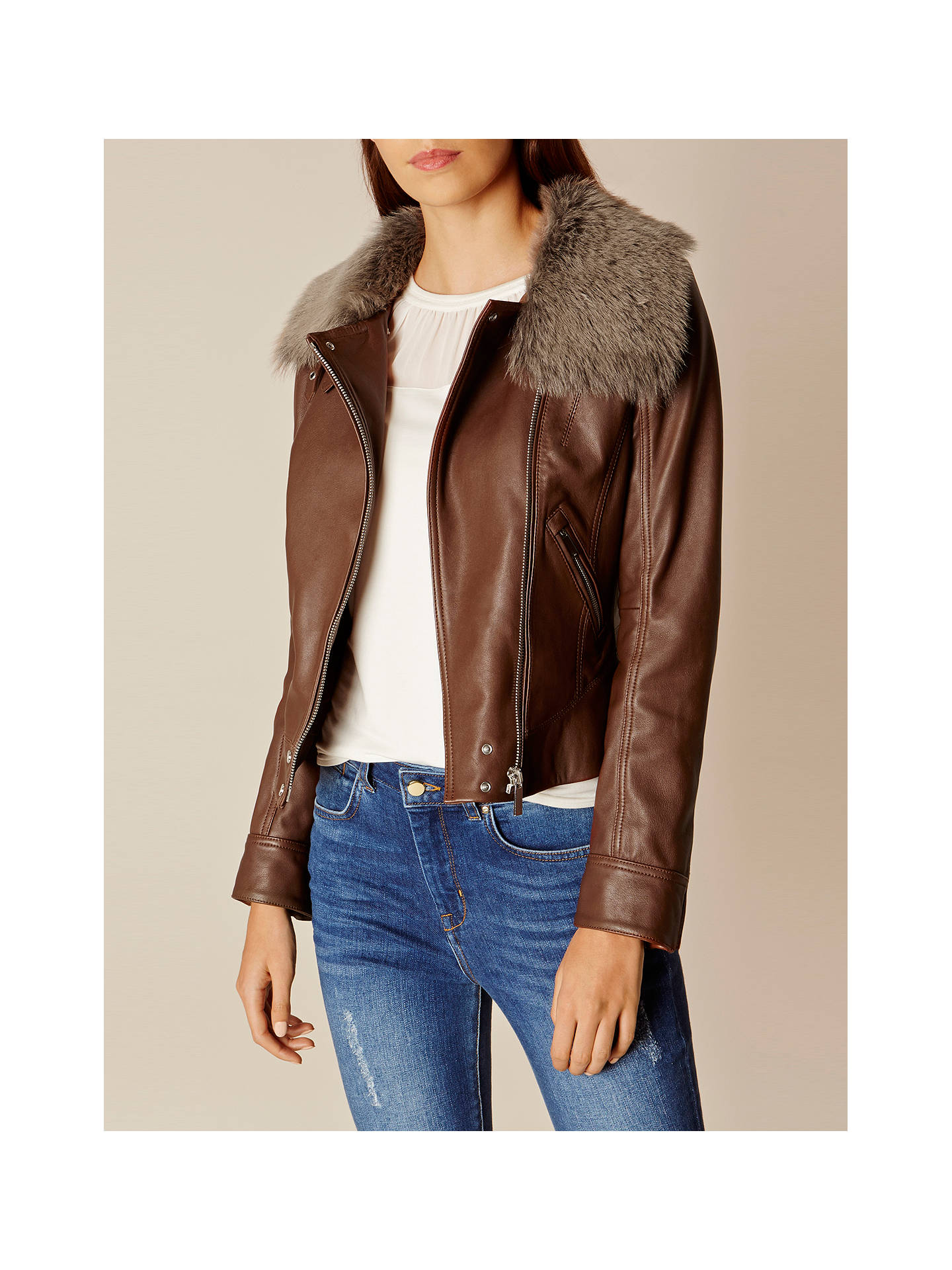 competitive price uk cheap sale search for official Karen Millen Faux Fur Trim Aviator Jacket, Brown at John ...