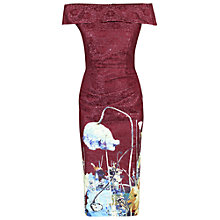 Buy Jolie Moi Bardot Neckline Floral Shift Dress, Dark Red Online at johnlewis.com