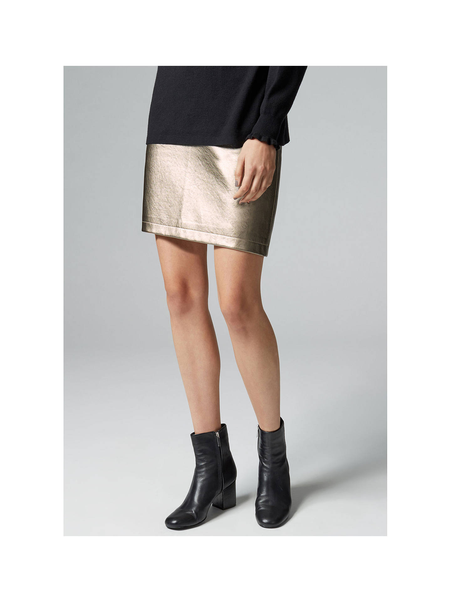 54d95253c3 ... Buy Warehouse Metallic Faux Leather Skirt, Gold, 6 Online at  johnlewis.com ...