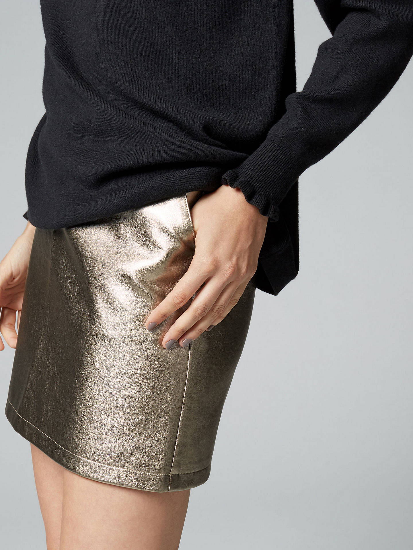 ccb9bb4cb6 ... Buy Warehouse Metallic Faux Leather Skirt, Gold, 6 Online at  johnlewis.com