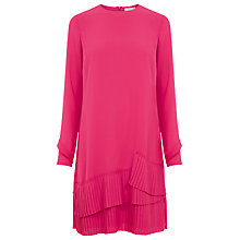 Buy Warehouse Pleated Hem Dress, Bright Pink Online at johnlewis.com