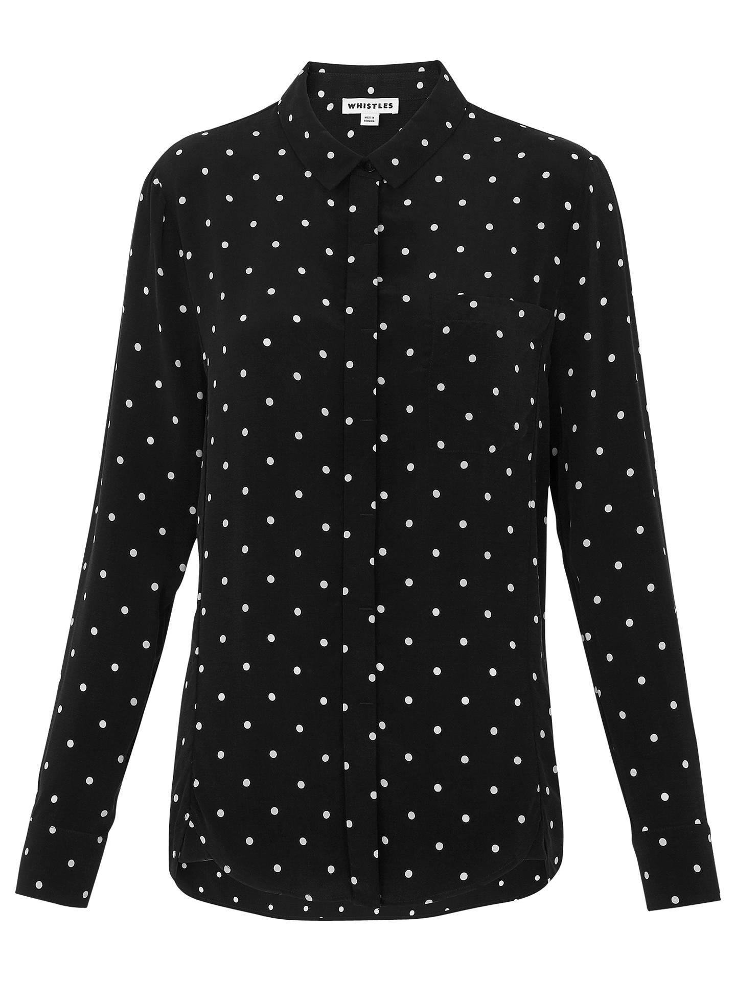89de483ea7f48a Buy Whistles Emelia Spot Shirt, Black/White, 6 Online at johnlewis.com ...