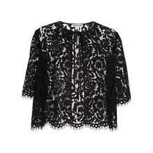 Buy Whistles Lace Scallop Edge Jacket, Black Online at johnlewis.com