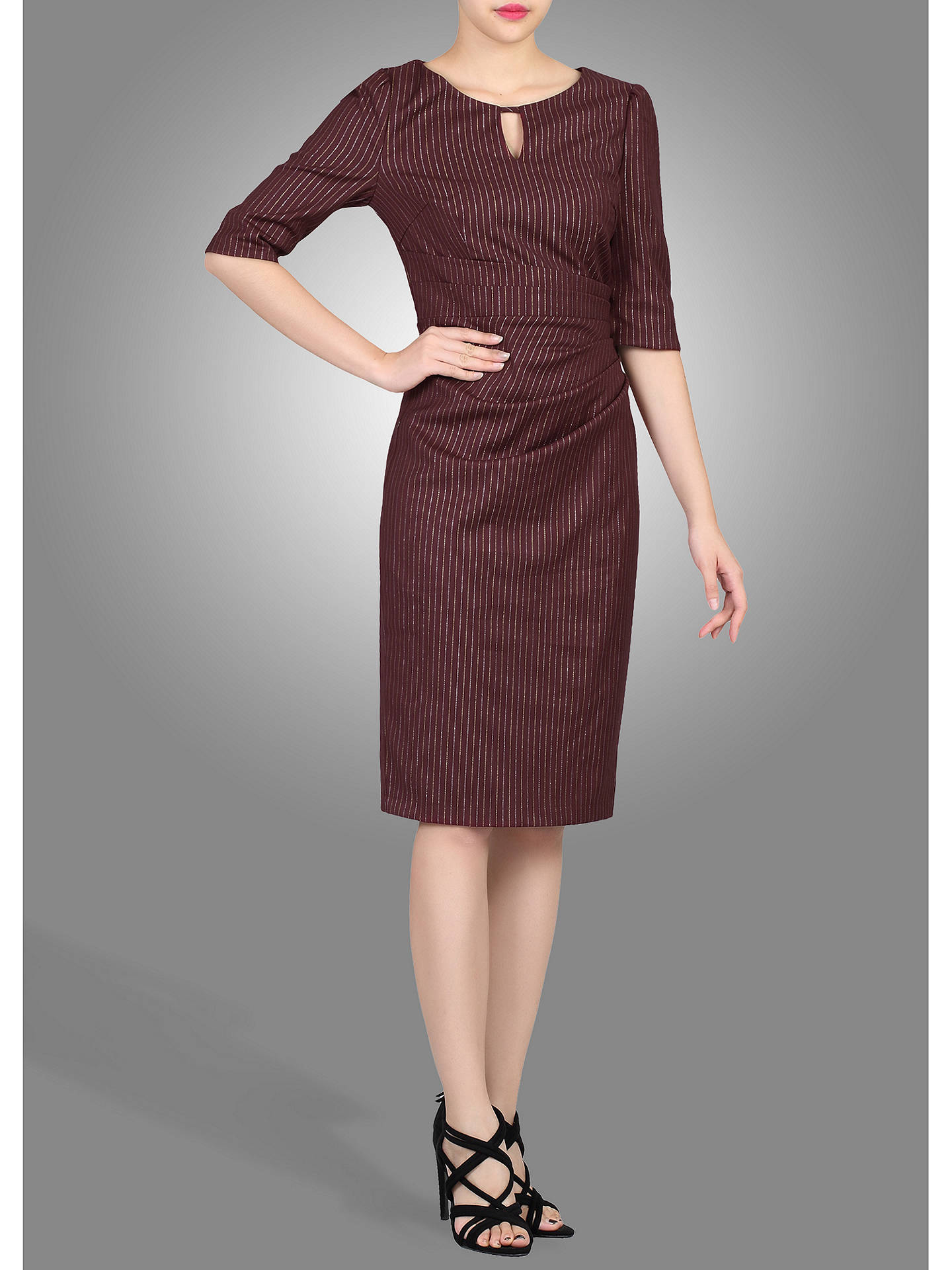 BuyJolie Moi Floral Half Sleeve Striped Shift Dress, Burgundy, 20 Online at johnlewis.com