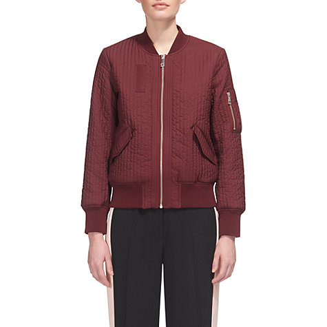 Buy Whistles Quilted Bomber Jacket, Burgundy | John Lewis