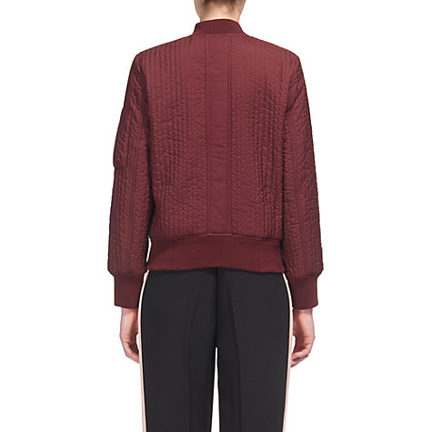 Buy Whistles Quilted Bomber Jacket, Burgundy Online at johnlewis.com