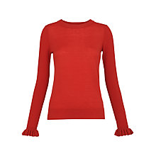 Buy Whistles Stripe Frill Cuff Jumper, Burnt Orange Online at johnlewis.com
