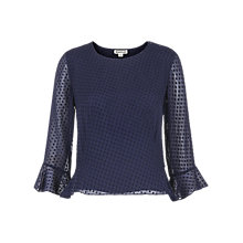 Buy Whistles Clara Peplum Silk Top, Navy Online at johnlewis.com