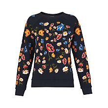 Buy Whistles Floral Embroidered Sweatshirt, Navy Online at johnlewis.com