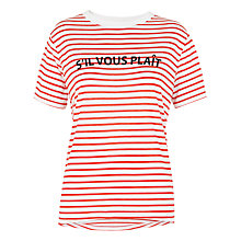 Buy Whistles S'il Vous Plait Stripe T-Shirt, Red/White Online at johnlewis.com