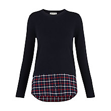 Buy Whistles Check Hem Knit, Navy Online at johnlewis.com