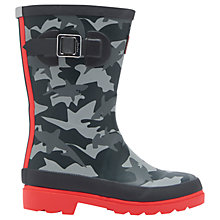 Buy Little Joule Children's Shark Camouflage Wellingtons Boots, Grey Online at johnlewis.com
