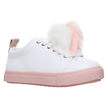 Buy Mini Miss KG Children's Pomtastic Laced Trainers, White/Pink Online at johnlewis.com