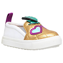 Buy Mini Miss KG Children's Pedro Pineapple Slip-On Trainers, Metallic Gold/White Online at johnlewis.com