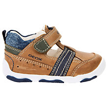 Buy Geox Children's Balu Rip-Tape Leather Shoes, Brown/Navy Online at johnlewis.com