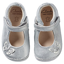 Buy Clarks Baby's Little Mia Mary Jane Leather Shoes, Silver Online at johnlewis.com