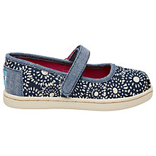 Buy TOMS Children's Mary Jane Dot Shoes, Navy Online at johnlewis.com