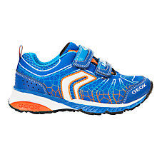 Buy Geox Children's Bernie Double Riptape Trainers, Royal Blue/Orange Online at johnlewis.com