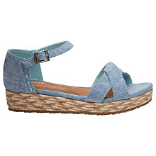 Buy TOMS Children's Harper Wedge Sandals, Chambray Online at johnlewis.com