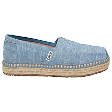 Buy TOMS Children's Platform Alpagatas Espadrilles, Blue Chambray Online at johnlewis.com