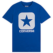 Buy Converse Boys' Mesh Boxstar T-Shirt, Blue Online at johnlewis.com